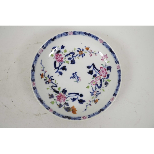 45 - Four C18th Chinese export porcelain plates in the Imari and famille rose style, and an early C19th D...