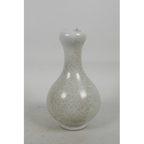 48 - A Chinese crackle glazed vase of garlic head form, 7