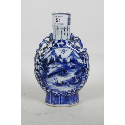 51 - A Chinese blue and white porcelain moon flask with dragon handles, decorated with lake scenes and fi...