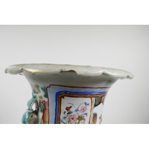 52 - A C19th Chinese export famille rose porcelain baluster vase, with twin moulded handles, raised drago...