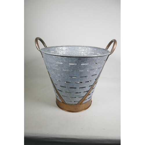 59 - A galvanised olive bucket with anodised handles, 16