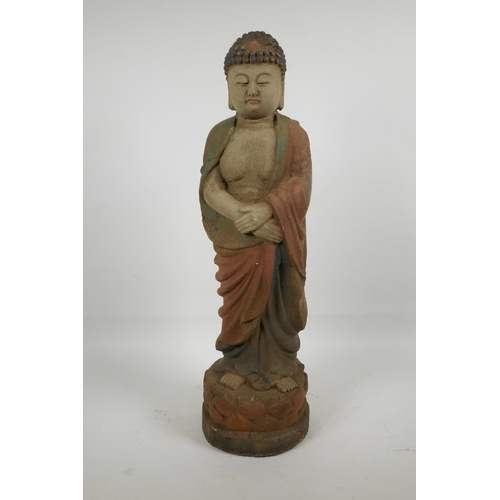 8 - A Chinese carved wood Buddha with cracked polychrome paintwork, 22