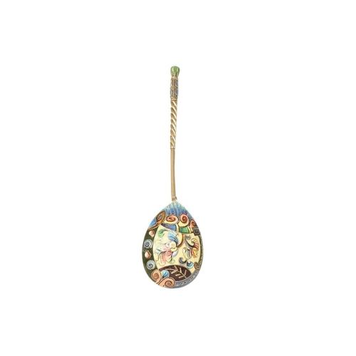14 - Russian Enamel Spoon - A beautiful Russian spoon, in full ground Cloisonne enamel, with shades of gr...