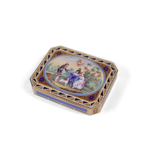 15 - Russian Gold and Enamel Snuff Box Pierre Theremin - Rectangular with cut corners. The lid painted on...