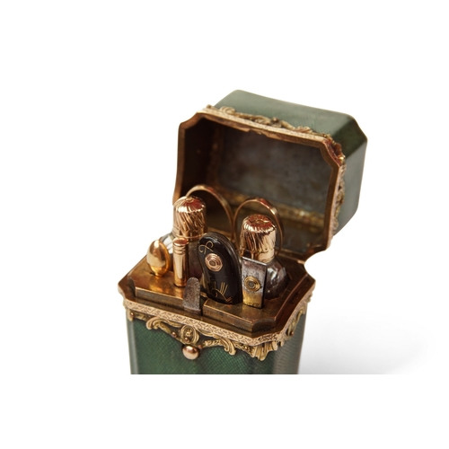 19 - Gold and Shagreen Perfume Necessaire - A shagreen and Gold Necessaire, fully fitted with perfume bot...