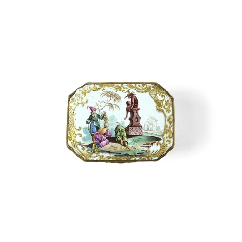 28 - An Important Bilston Pillement Snuff Box - The lid and sides painted with designs from the prolific ...