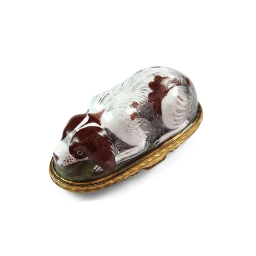 31 - Bilston Enamel Crouch Dog Bonbonniere - Unusual large enamel Bonbonniere formed as a ruby and white ...