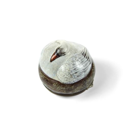 34 - Extremely Rare Bilston Sleeping Swan Bonbonniere - Modelled as a swan, on a circular brown ground ba...
