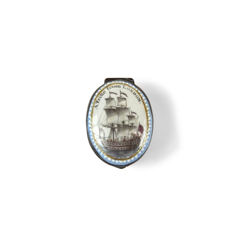 43 - London Patch Box - Oval Bilston enamel patch box circa 1780, with a pale blue and white base and a l...