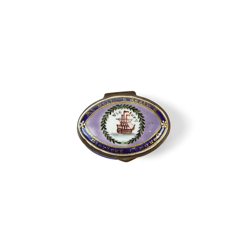 45 - Bilston Enamel Box with Anchor  - Oval Bilston enamel patch box circa 1810, with a navy base and a l...