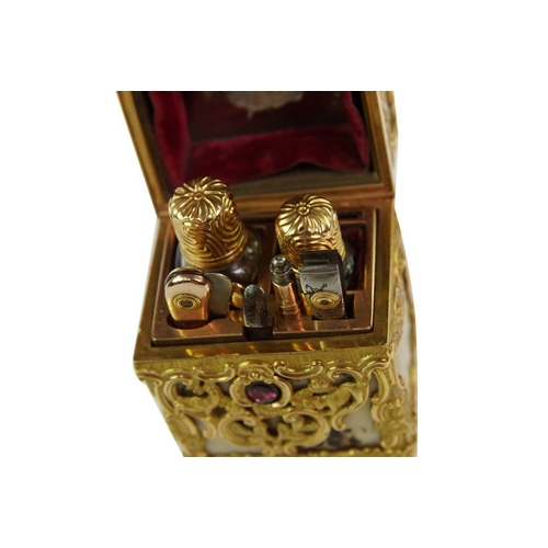 17 - George III Gold Mounted Agate Necessaire - A gold mounted agate necessaire of upright rectangular fo...
