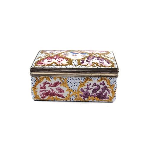 2 - Berlin Silver Mounted Enamel Snuff Box - An 18th Century Berlin Enamel snuff box, decorated to all s...