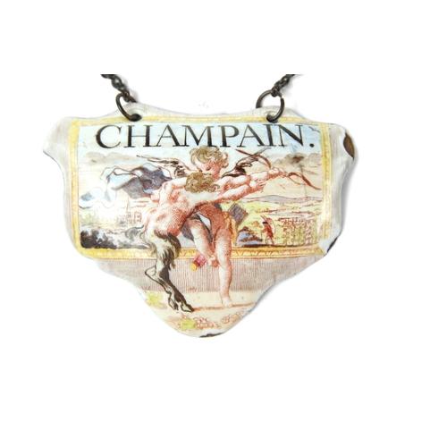 23 - Battersea Enamel Wine Label - Champain  - A rare Battersea enamel