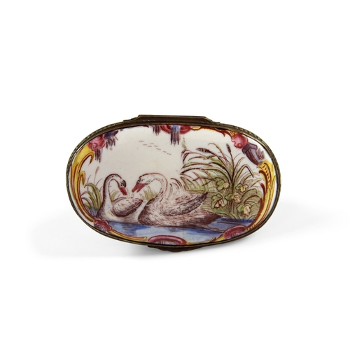 32 - Bilston Enamel Swan Shaped Bonbonniere - Fantastic example of a swan the bird with bright yellow bea...
