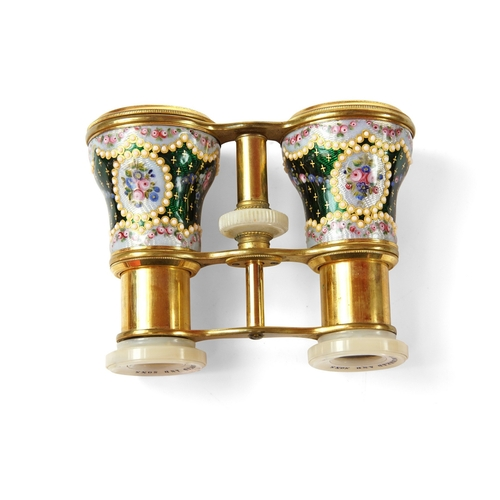 5 - Pair of Enamel Opera Glasses - With mother of pearl eyepieces the highly decorated barrels with gree...