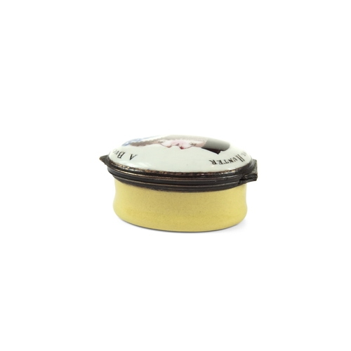 50 - Bilston Enamel Topsy Turvy Patch Box - A Oval Bilston enamel patch box circa 1770, with a yellow bas...