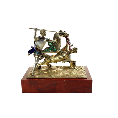 53 - Gem-Set Figure of St George and the Dragon - The dragon with its Emerald set wings open its head tur...