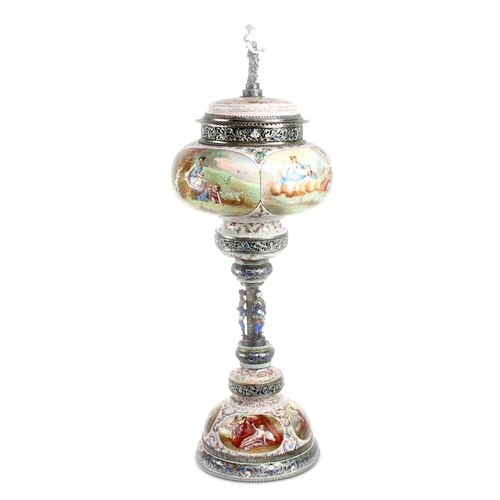 55 - Vienna Cup and Cover by Hermann Boehm - The cover with an enamelled finial of a classical maiden on ...
