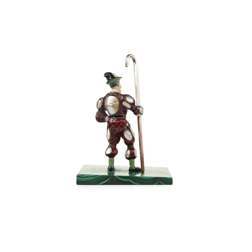 58 - Viennese Pearl Set Figure of a Jester - The Jolly Pearl set figure with red enamel with silver staff...