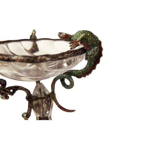 59 - Rock Crystal Salt - In the form of the miniature tazza the top with a salamander perched on the side...