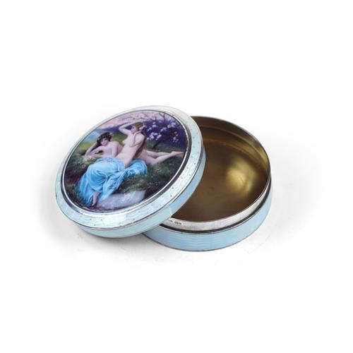 6 - Swedish Silver and Enamel Powder Box - Silver and enameled guilloche aquamarine Powder Box , lid set...