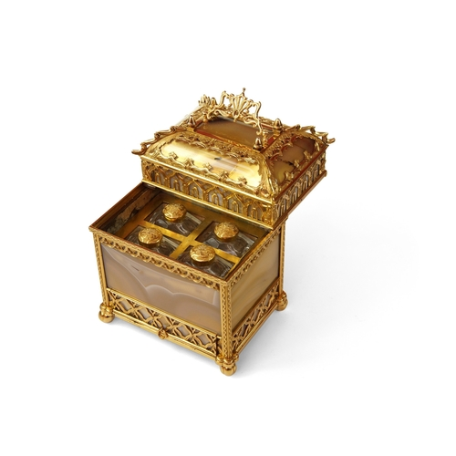 18 - A Rare Gold and Agate Perfume Necessaire - Museum Quality in the form of a Gothic Chest in 18ct Gold...