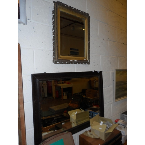 14 - Large vintage mahogany framed wall mirror 94w cm x 66d cm plus another in need of attention with gil...