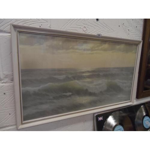16 - Sea scape print by Ed Mandon 85w cm x 50d cm...