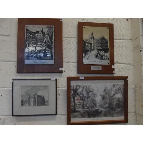 4 - 2x Metal etchings of German town to Northampton plus David sheppard OBE print of Oosterbeek cross ro...