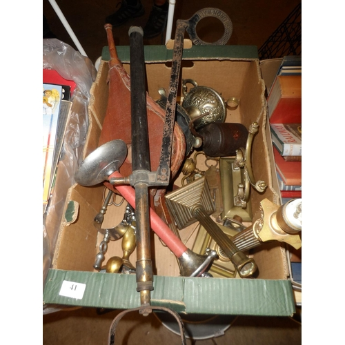 41 - Box of odds including various brass pieces...