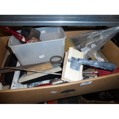 50 - Box of decorating tools and a decorating table...