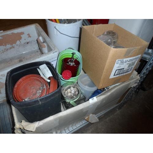 53 - Large box of plant pots indoor and outdoor plus metal garden items...