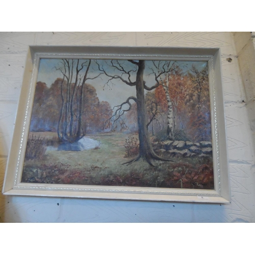 5 - Framed painting of woodlands by Clifford Frost...