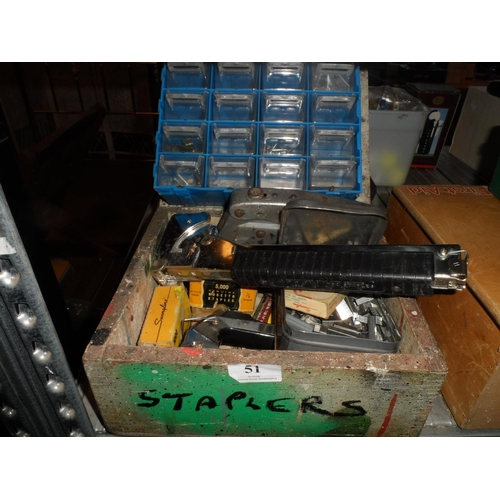 51 - Vintage wooden box of different styles of staple guns and staples...