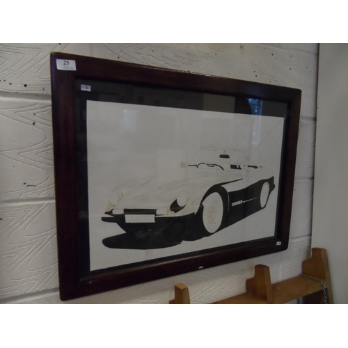 25 - Framed painting of a 3000s sports car cracked glass...