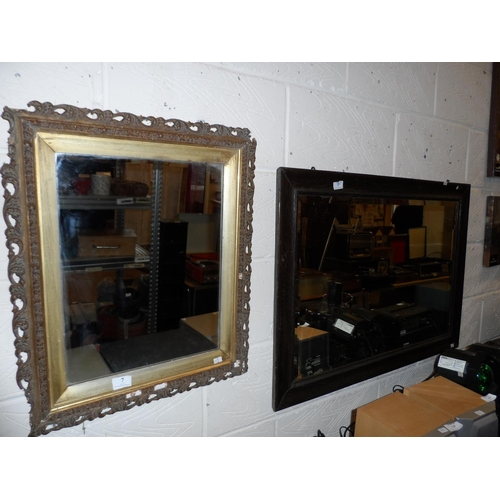 7 - Large vintage mahogany framed wall mirror 94w cm x 66d cm plus another in need of attention with gil...