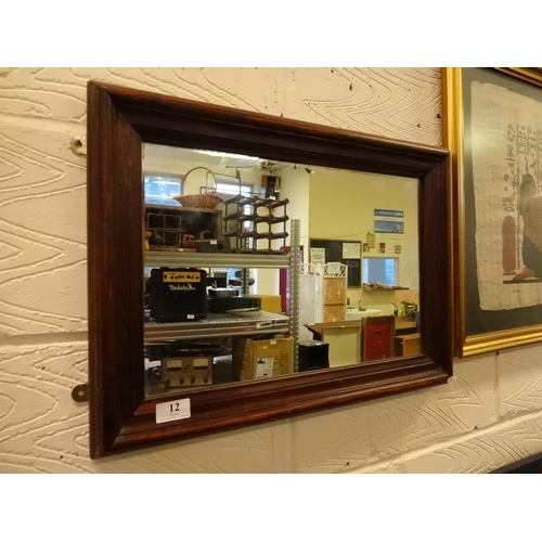 12 - Small wooden framed pub mirror, heavy 55cm x 40cm...