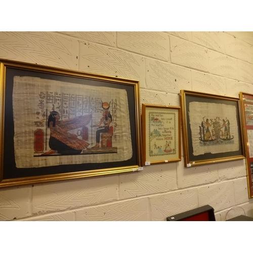 13 - 2x Framed Egyptian parchement plus small sampler...
