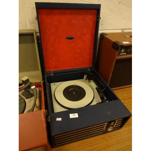 15 - Vintage Fidelity blue record player, powers up...