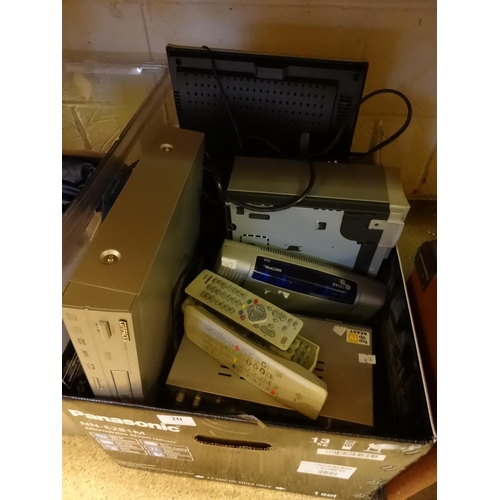20 - Swisstec small TV CD/DVD player, Toshiba VCR, various top boxes plus other items and leads...