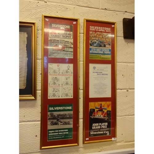 24 - 2x 1975 Silverstone montages framed 29cm x 101cm...