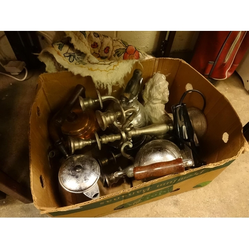 29 - Box of odds including vintage kettles, dog statue and a small rug etc...