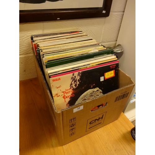 31 - (Ref 1) Box of various Lps approximately 120 various artist from 60s onwards includes Moody Blues, E...