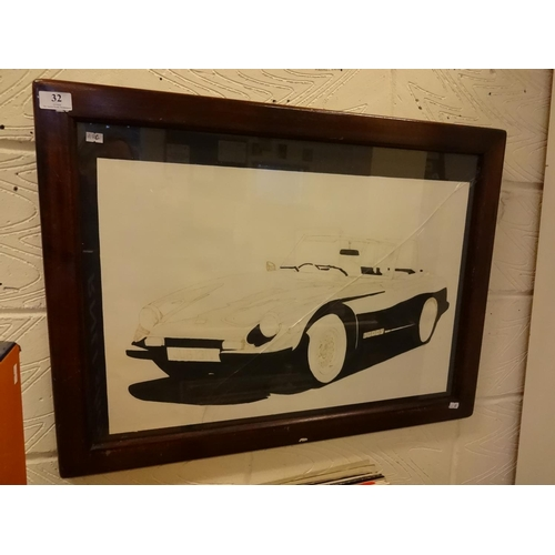 32 - Framed painting of a 3000s sports car cracked glass...