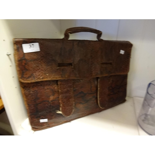 37 - Anaconda skin handmade briefcase as found...