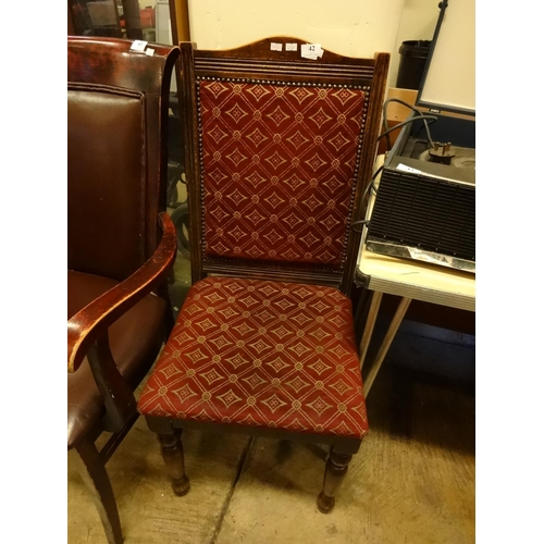 42 - (Ref 26) Wooden framed dining chair with red fabric and studded edge...