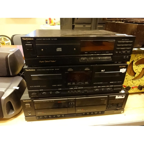 45 - Technics stack system, Cd Player (Sl-PJ37A), Technics double cassette deck (RS-K501) and Technics do...