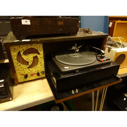 47 - Vintage record player slide out Garrard 3000 deck goldring stylus spares or repairs...