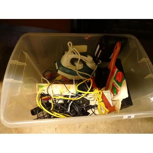 48 - Box of various electricals; Iron, Phones, Talktalk homehub etc...