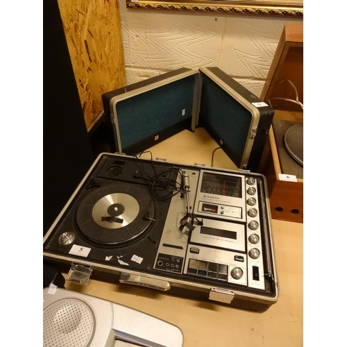 5 - Vintage Sanyo solid state music centre model G-2615N-2 (suitcase type) spares or repair...